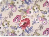 Deco fabric , flowers,white-multicolour, 140cm
