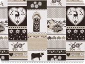 Jacquard deco fabric, cottage, brown-beige, 140cm