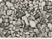 Nice decoration fabric, stones, grey, 140cm