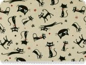 Decoration fabric, linen look, cats, grey-black, 140cm