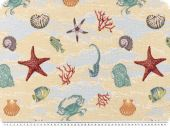 Jacquard Deco fabric, sea, multicolour, 140cm