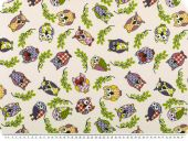Deco fabric, owls pink/lilac/green on offwhite, 140cm