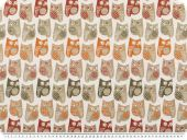 Jacquard Deco fabric, owls, multicolour, 140cm
