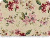 Nice deco jacquard, flowers, beige-red, 140cm
