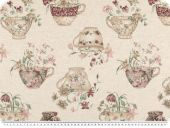 Decoration fabric, linen look, cups, ecru-multicolour, 140cm