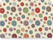 Trendy deco jacquard, buttons, multicolour, 140cm