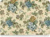 Floral upholstery fabric, roses, beige-blue, 140cm