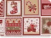 Jacquard deco fabric, christmas, red-multicolour, 140cm