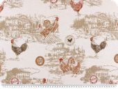 Nice deco jacquard, rooster, beige-red, 140cm