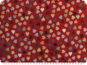 Jqcquard upholstery deco fabric, hearts,  multicolour, 140cm