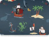 Darkening fabric, pirates, dark blue with print, 150cm