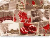 Nice decoration fabric, winter theme, beige-multicolour