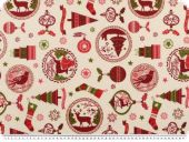 Festive christmas fabric, creme-red-green, 140cm