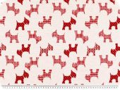 Jacquard deco fabric, dogs, reversible, white-red, 140cm