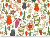 Nice deco fabric, flowers, ecru-multicolour, 140cm