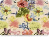 Jacquard  deco fabric, flowers, ecru-multicolour, 140cm
