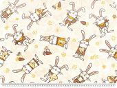 Deco fabric for children, funny rabbits, multicolour, 140cm