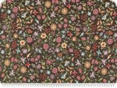 Jacquard deco fabric, flowers on  black, width 140cm