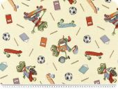 Nice deco jacquard, frogs, ivory-multicolour, 140cm