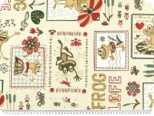 Deco fabric for children, frogs, ivory-multicolour, 140cm
