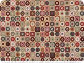 Jacquard deco fabric, small circles, multicolour, 140cm