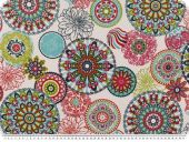 Nice deco fabric, cercles-flowers, white-multicolour, 140cm