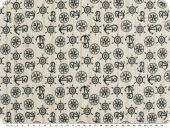 Jacquard upholstery fabric, anchors, grey and blue, 140cm