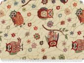 Upholstery & deco jacquard, owls, ivory-multicolour, 140cm