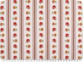 Decoration fabric, roses-stripes, ecru-red-apricot,140cm