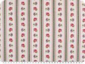 Decoration fabric, roses-stripes, ecru-pink-lilac,140cm