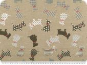 Deco fabric, animals-dogs, mud-multicolour, 140cm