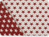 Deco jacquard, double-face, stars, ecru-cherry red, 140cm
