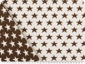 Deco jacquard, double-face, stars, ecru-dark brown, 140cm