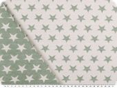Deco jacquard, double-face, stars, ecru-light grey, 140cm