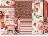 Deco fabric, patch, animals-flowers-stripes, ecru-red-pink,