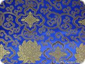 China Jacquard, flowers, signal blue, ca. 90cm