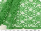 Lace with flowers, both sided scallop, green, ca. 134cm