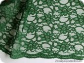 Lace with flowers, both-sided scallop, dark green, ca. 134cm