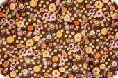 Cotton print, twill, little flowers on brown, 145cm