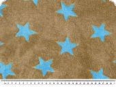 Superfleece, stars, brown-turquoise, 150cm