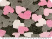 Superfleece, washed optic, hearts, ca. 150cm