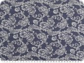 Stretch jacquard denim, flowers, dark blue-white, 142cm
