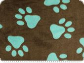 Superfleece, animal paws, brown-turquoise, 150cm