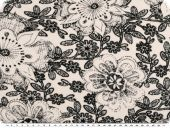 Cotton - satin, stretch, flowers, black and white, 147cm