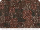 Viscose print, patch, ornaments, grey-burgundy, 145cm