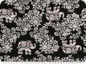 Mousseline, viscose print, flowers and animals, black-white