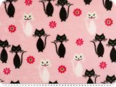 Superfleece, cats, pink-black, 150-155cm