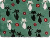 Superfleece, cats, green, 150-155cm