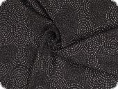 Knitted fabric with lurex , circles, black-silver, 162cm