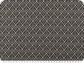 Knitted fabric with lurex , checks, black-silver, 162cm